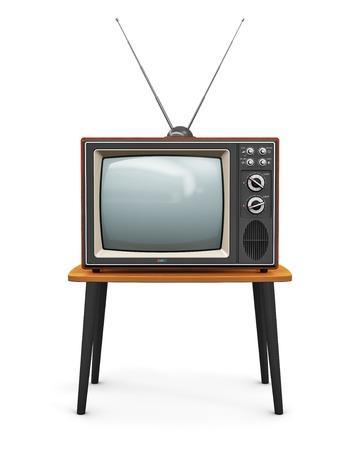 創造的な抽象的なコミュニケーション メディア、テレビ ビジネス コンセプト古いレトロな色木製ホーム TV の受信機木のテーブル上のアンテナで設