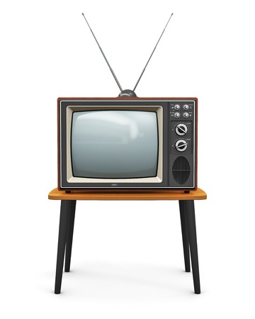 vintage: Creative abstract communication media and television business concept  old retro color wooden home TV receiver set with antenna on wood table  Stock Photo