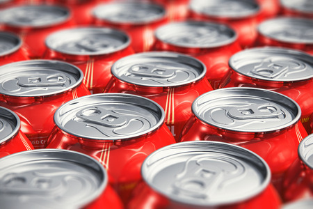 Macro view of color drink tin cans with cola soda beverage with selective focus effect photo