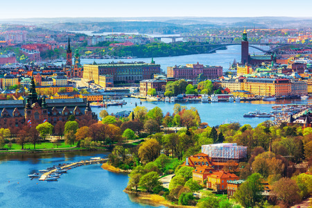 Scenic summer aerial panorama of the Old Town Gamla Stan architecture in Stockholm, Sweden