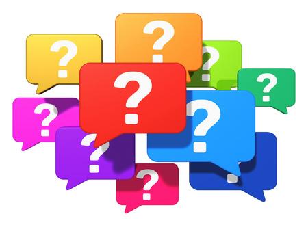 Aide de l'entreprise, le soutien et le concept d'assistance Creative groupe de ballons de la parole de couleur avec des marques de symboles isolé sur fond blanc Banque d'images - 29087662
