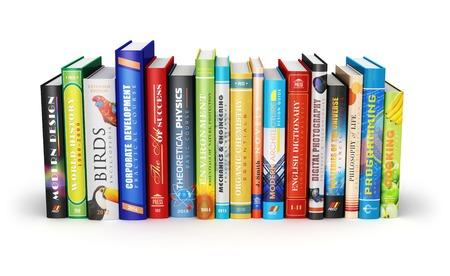 biblioteca: Ciencia abstracta creativa, conocimiento, educación, de nuevo a la escuela, la empresa y la oficina corporativa concepto de la vida de color tapa dura libros aislados en el fondo blanco Foto de archivo