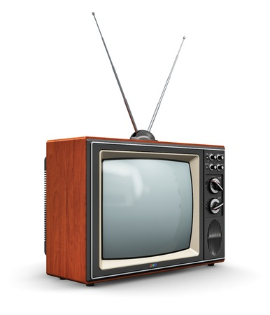 old fashioned tv: Creative abstract communication media and television business concept  old retro color wooden home TV receiver set with antenna isolated on white background