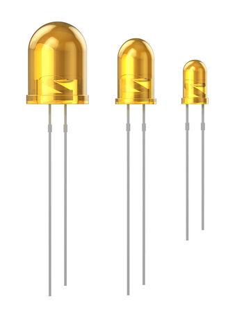 leds: Conjunto de LEDs amarillos 8 mm, 5 mm, 3 mm, aislado en el fondo blanco Foto de archivo