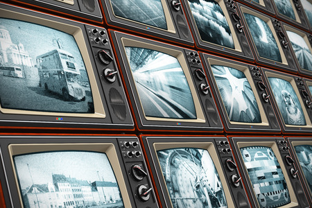 Creative abstract television broadcasting, news media, business, entertainment and cinema concept  wall of old wooden black and white TV screens with various broadcast channels Stock Photo