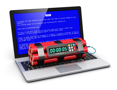 Business laptop or office notebook computer PC with error message on blue screen and time bomb on keyboard isolated on white background  Design is my own and all text labels are fully abstract photo