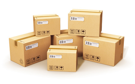 stack of corrugated cardboard box packages isolated on white background 版權商用圖片