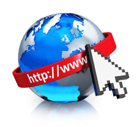 Creative internet, web et réseau de communication concept d'entreprise verre bleu globe terrestre global avec la flèche du curseur de la souris de l'ordinateur et rouge adresse www isolé sur fond blanc avec effet de réflexion