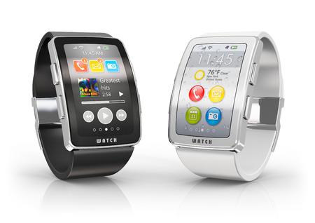 Creative Business-Mobilität und moderne Mobil tragbares Gerät Technologiekonzept zwei digitalen Farb intelligente Uhren oder Uhren mit bunten Screen-Oberfläche isoliert auf weißem Hintergrund mit Reflexion Wirkung