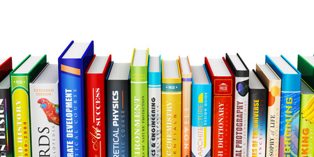 pile of books: color hardcovers books isolated on white background