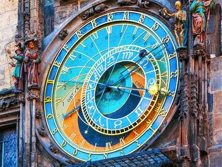 Scenic view of astronomical clock at the City Hall Tower at the Market Square in the Old Town in Prague, Czech Republic Banco de Imagens