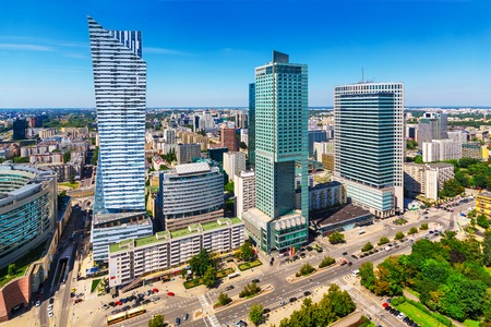 house facades: Scenic summer outdoor aerial view of corporate business district with modern skyscraper buildings in Warsaw, Poland Stock Photo