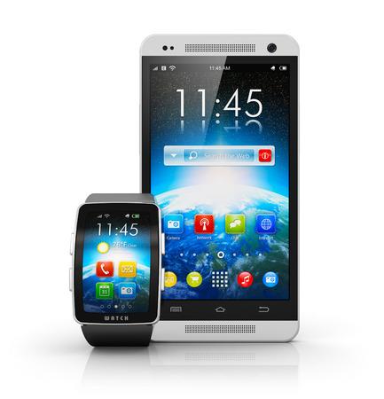 smart: slimme horloge of klok en touchscreen smartphone met kleur-interface op een witte achtergrond met reflectie effect