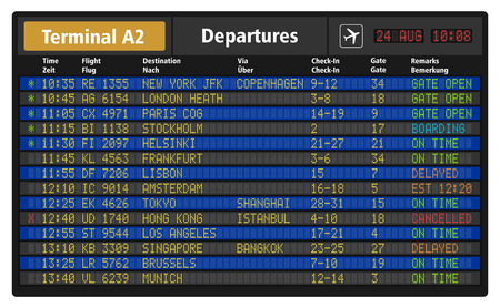 Illustrazione di bordo di partenza aeroporto con orari di voli aereo di linea Archivio Fotografico - 30118456