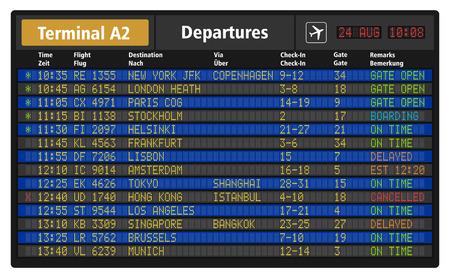 cronograma: ilustración de la tarjeta de salida del aeropuerto con horarios de los vuelos del avión de pasajeros