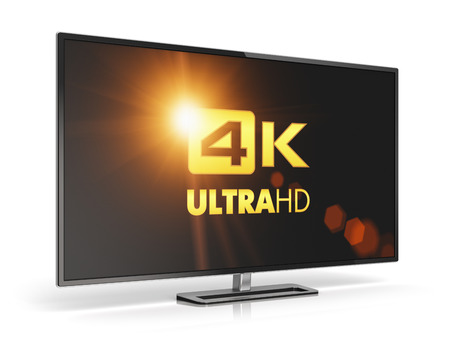 television screen: 4K Ultra HD TV or computer monitor display isolated on white background with reflection effect