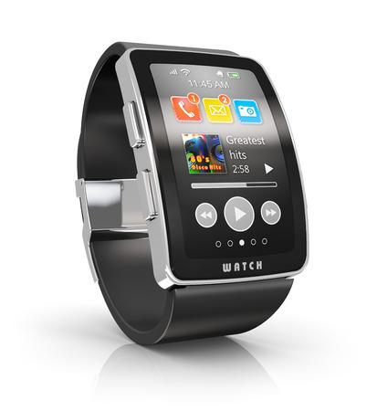 반사 효과와 흰 배경에 고립 된 컬러 스크린 인터페이스와 디지털 스마트 시계 또는 시계