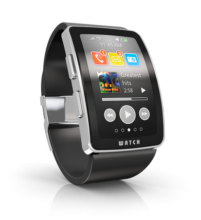 watches: digital smart watch or clock with color screen interface isolated on white background with reflection effect