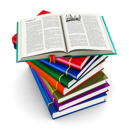 scientific literature: stack of color hardcovers books with open one with text isolated on white background Stock Photo