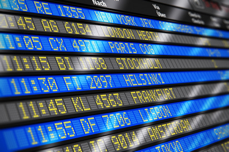 Creatieve abstracte zakelijke reizen en luchtvaartmaatschappij vervoer concept van de luchthaven van vertrek en aankomst bord met tijdschema van vliegtuig vluchten