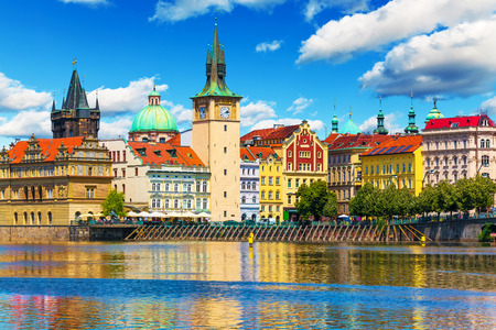 prague castle: Scenic summer view of the Old Town ancient architecture and Vltava river pier in Prague, Czech Republic