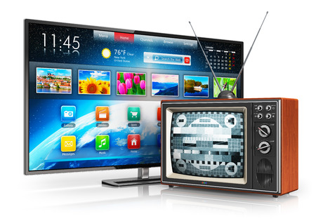 Creative abstract television evolution and digital multimedia technology and media entertainment concept  old wooden CRT TV with antenna and new modern smart tv with colorful interface isolated on white background with reflection effect