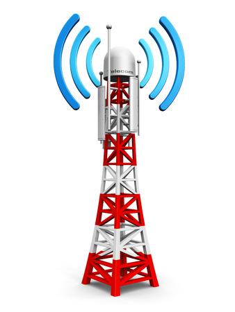 torres el�ctricas: Tecnolog�a creativo abstracto digital celular de telecomunicaciones y concepto de negocio de conexi�n inal�mbrica estaci�n base m�vil o transmisor de TV antena pil�n aislado en fondo blanco