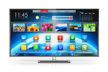 tv: Creative abstrait concept d'entreprise de télédiffusion Internet divertissement multimédia et les médias numériques écran de télévision intelligente avec interface couleur web isolé sur fond blanc avec effet de réflexion