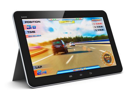 jugando videojuegos: Juegos de ordenador abstracto creativo y tecnolog�a de entretenimiento PC concepto moderno brillante tableta con pantalla t�ctil negro con el juego video aislado en fondo blanco