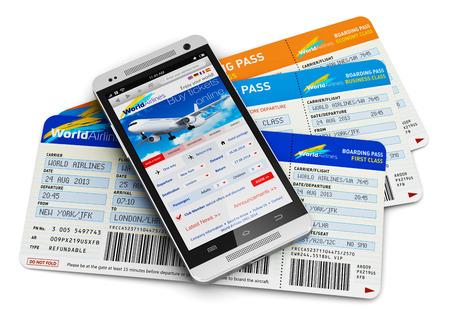 抽象的なビジネスの創造的な空の旅、モビリティと通信概念の近代的なタッチ スクリーンのスマート フォンや携帯電話予約またはオンライン反射効