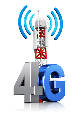 Creative abstract 4G digital cellular telecommunication technology and wireless connection business concept  mobile base station or TV transmitter antenna pylon with 4G sign