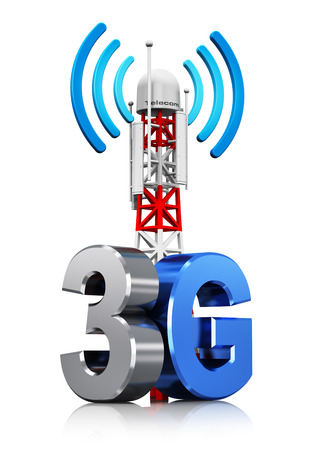 wireless connection: Creative abstract 3G digital cellular telecommunication technology and wireless connection business concept  mobile base station or TV transmitter antenna pylon with 3G sign Stock Photo