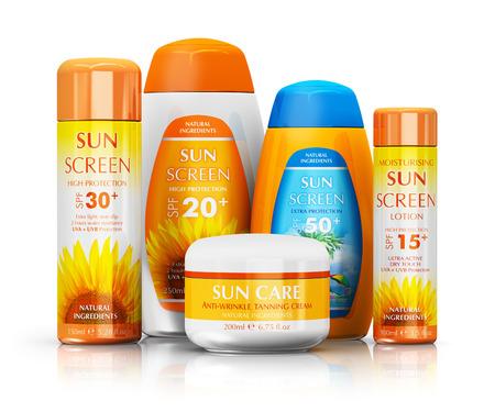 オレンジ色の太陽皮膚ケア保護化粧品ボトルや容器の反射効果で白い背景で隔離の設定