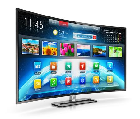 Creatieve abstracte digitale multimedia entertainment en media televisieomroep internet business concept Smart TV scherm met kleur web-interface op een witte achtergrond met reflectie effect