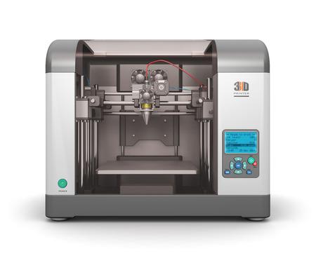 クリエイティブの抽象的な新しい技術概念: 白い背景で隔離現代プロ プラスチック製 3 D プリンター