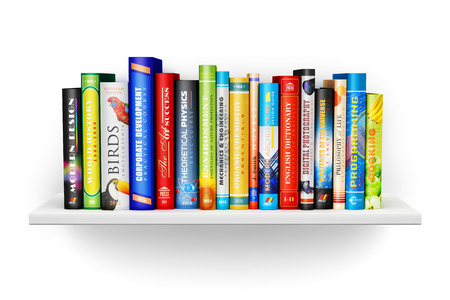 shelves: Creative abstract science, knowledge, education, back to school, business and corporate office life concept: bookshelf with color hardcover books isolated on white background Stock Photo