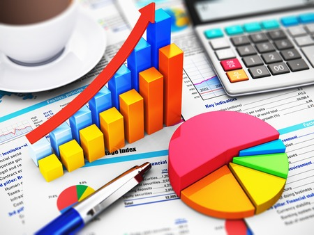 Business finance, tax, accounting, statistics and analytic research concept: macro view of office electronic calculator, bar graph charts, pie diagram and ballpoint pen on financial reports with colorful data with selective focus effect photo