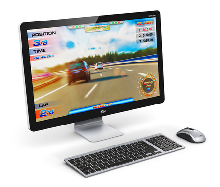 Juego creativo abstracto del ordenador y concepto de la tecnología de entretenimiento: moderna PC de escritorio gamer negro o con el juego video aislado en fondo blanco