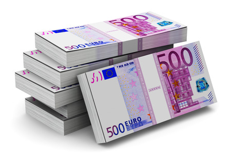 Creative abstract banking, money making and business success financial concept: heap of stacks of 500 Euro banknotes isolated on white background photo