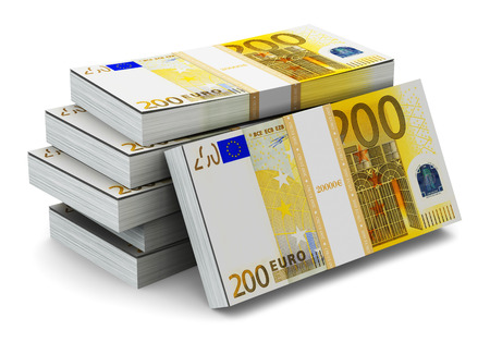 Creative abstract banking, money making and business success financial concept: heap of stacks of 200 Euro banknotes isolated on white background photo