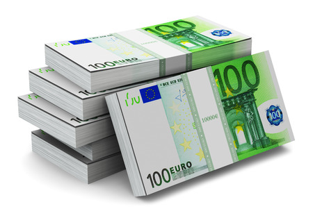 Creative abstract banking, money making and business success financial concept: heap of stacks of 100 Euro banknotes isolated on white background photo