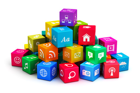 Creative abstract mobile applications, media computer technology and internet networking web communication concept: heap of colorful cubes with color app icons or buttons isolated on white background 스톡 콘텐츠