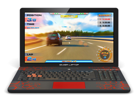 Creative abstract computer gaming and PC entertainment technology concept: modern black gamer laptop or notebook with video game isolated on white background