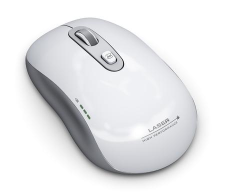 Creative Technology PC astratto e commercio comunicazione concetto digitale: wireless mouse laser con la rotella di scorrimento isolato su sfondo bianco Archivio Fotografico - 31137774