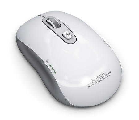Creative abstract PC technology and business communication digital concept: wireless laser computer mouse with scrolling wheel isolated on white background Standard-Bild