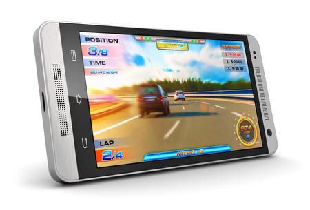Juego creativo abstracto móviles y concepto de la tecnología de entretenimiento informático: moderno brillante smartphone con pantalla táctil negro con el juego video aislado en fondo blanco Foto de archivo