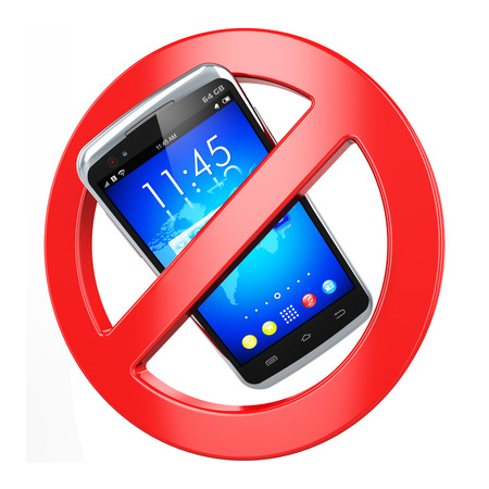 telefonok: Kreatív absztrakt tiltott mobil kommunikációs és tilos a vezeték nélküli kapcsolat üzleti koncepció: nincs mobiltelefon jel elszigetelt fehér háttér Stock fotó