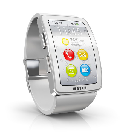 wearable: Creative business mobility and modern mobile wearable device technology concept: digital smart watch or clock with color screen interface isolated on white background with reflection effect Stock Photo