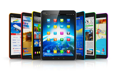 Creative abstract mobile communication technology and mobility concept: group of modern touchscreen tablet PC computers with color business application interfaces isolated on white background with reflection effect Stockfoto
