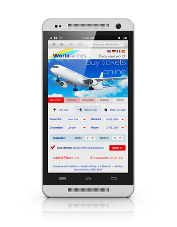Creative abstract business air travel, mobility and communication concept: modern touchscreen smartphone or mobile phone with airline internet web site offering booking or buying airliner tickets online isolated on white background with reflection effect photo